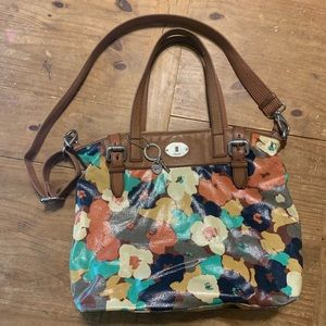 Fossil / Large Key Per Satchel Tote Leather Canvas